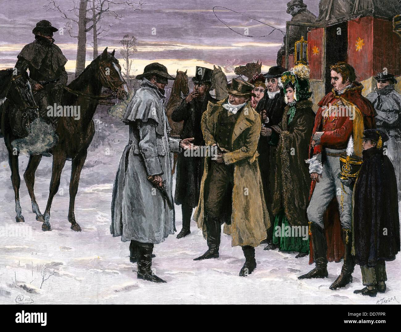 Banditi di rapinare stagecoach passeggeri su il Re della strada statale, Inghilterra, 1700s. Immagini Stock