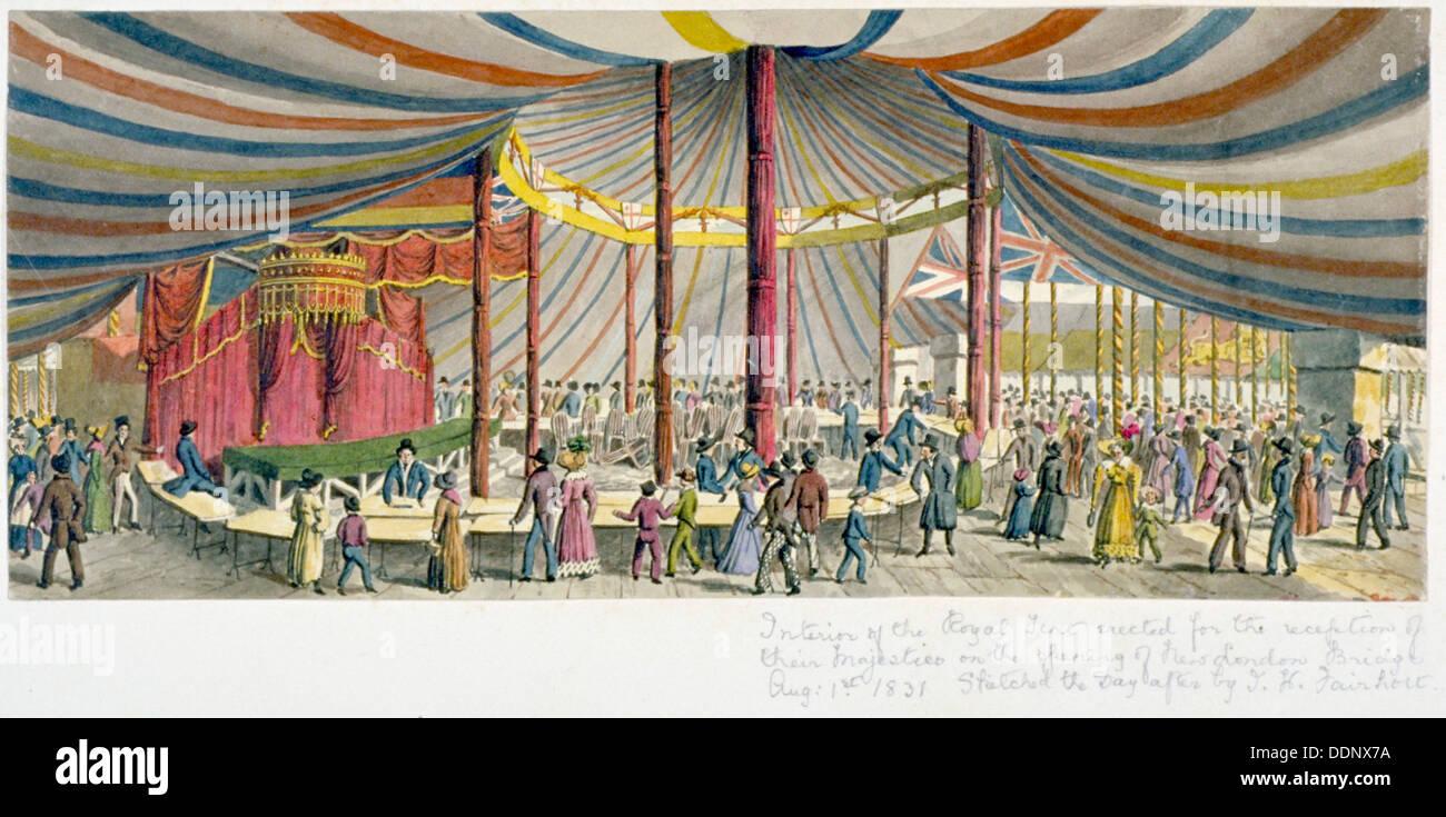 Inaugurazione regale di London Bridge, 1831. Artista: JH Fairholt Immagini Stock