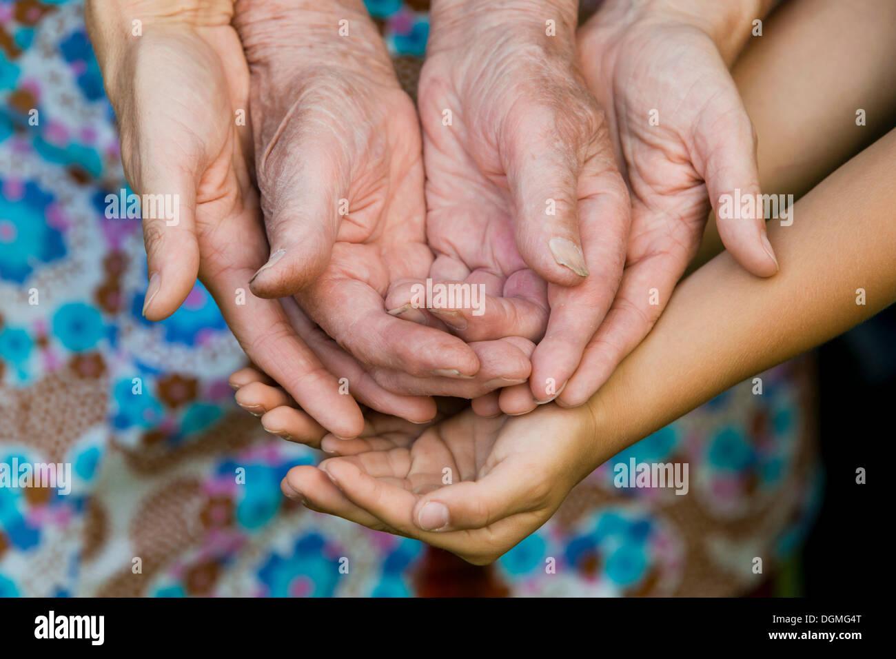 Le mani di un adulto, una donna anziana e un bambino Immagini Stock