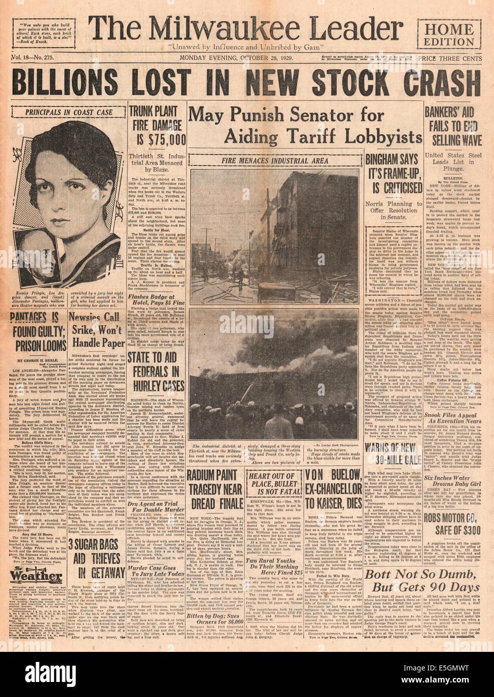 1929 Milwaukee Journal (USA) pagina anteriore reporting crollo di Wall Street Immagini Stock