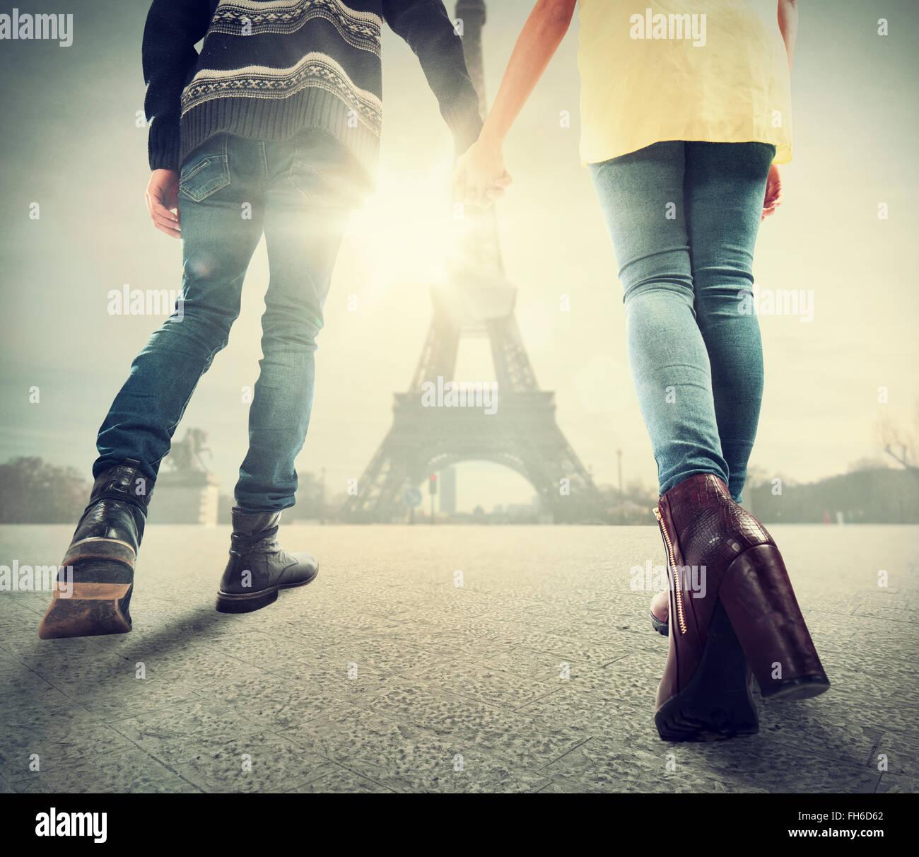 Matura in amore a Parigi Immagini Stock