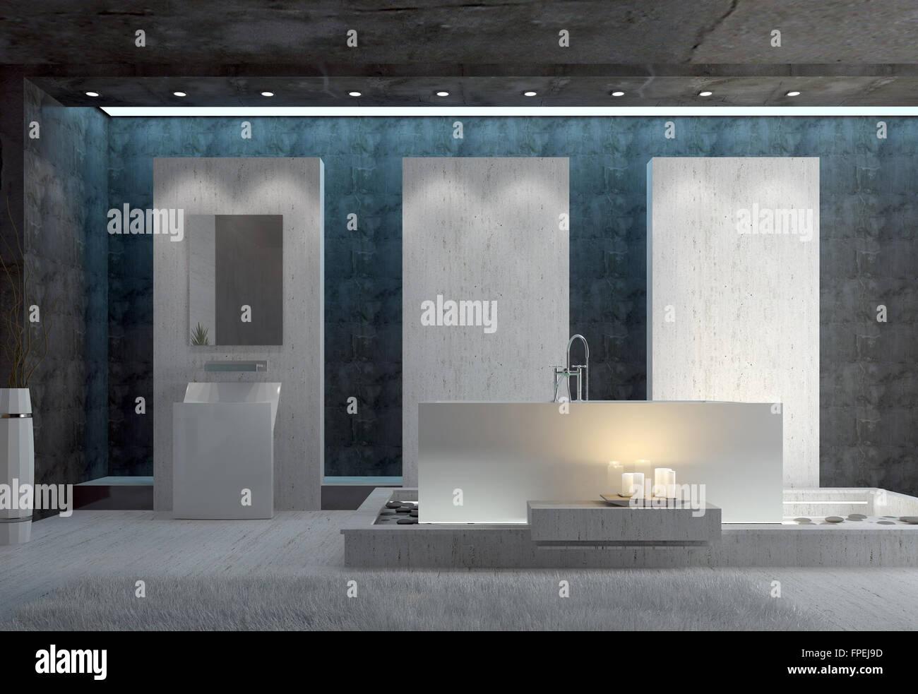 3d romantico elegante bagno interno con vasca da bagno - Bagno romantico ...