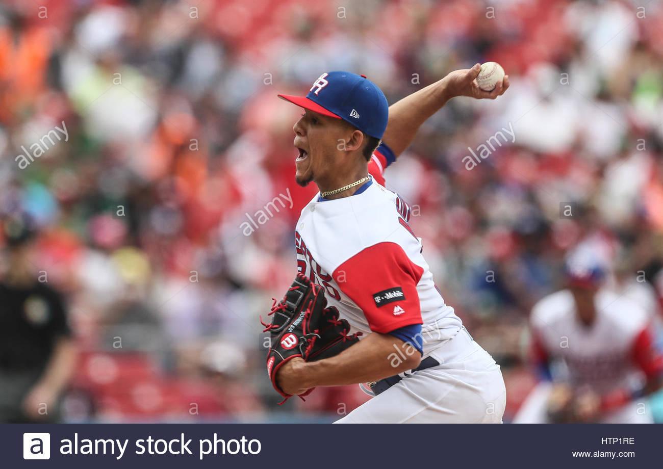 Guadalajara, Messico. Xii Mar, 2017. Mike Avilés di Puerto Rico in azione durante il World Baseball Classic Immagini Stock