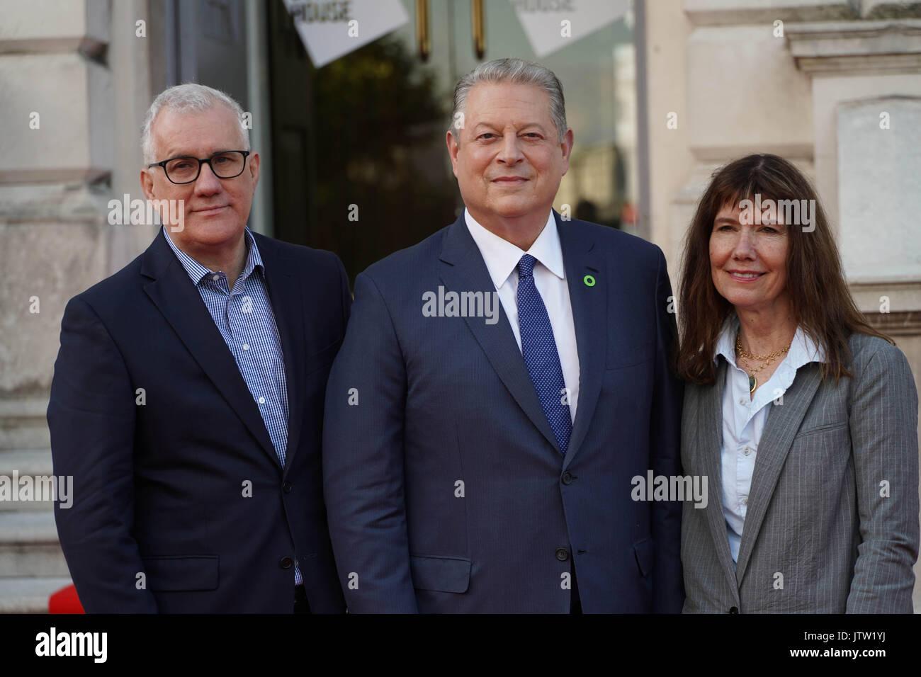 Londra, Regno Unito. 10 Agosto, 2017. Davide e Linda e Diane Weyermann, i produttori di una scomoda verità Immagini Stock