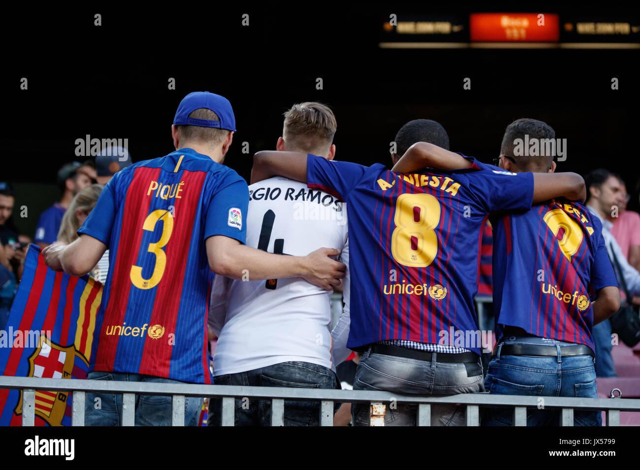 Stadio Camp Nou, Barcellona, Spagna. 13 Agosto, 2017. Super Coppa di Spagna tra FC Barcelona e Real Madrid. Ventole Immagini Stock
