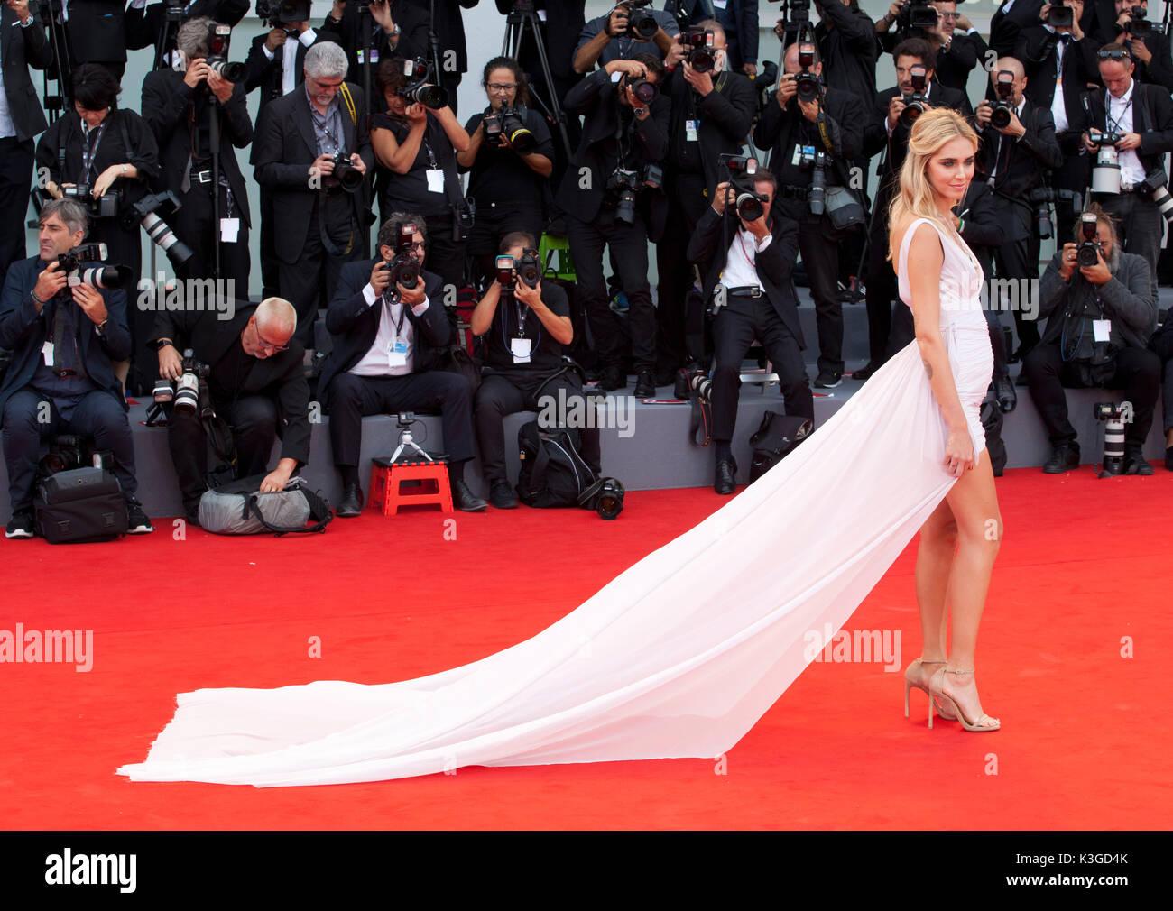 Venezia, Italia. 2 Sep, 2017. Chiara Ferragni alla premiere del film Suburbicon alla 74a Mostra del Cinema di Venezia, Immagini Stock