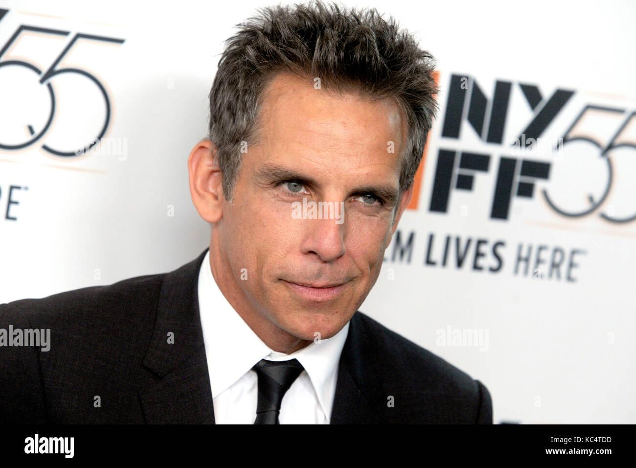 """Ben Stiller assiste """"meyerowitz storie 'premiere durante il cinquantacinquesimo new york film festival Immagini Stock"""
