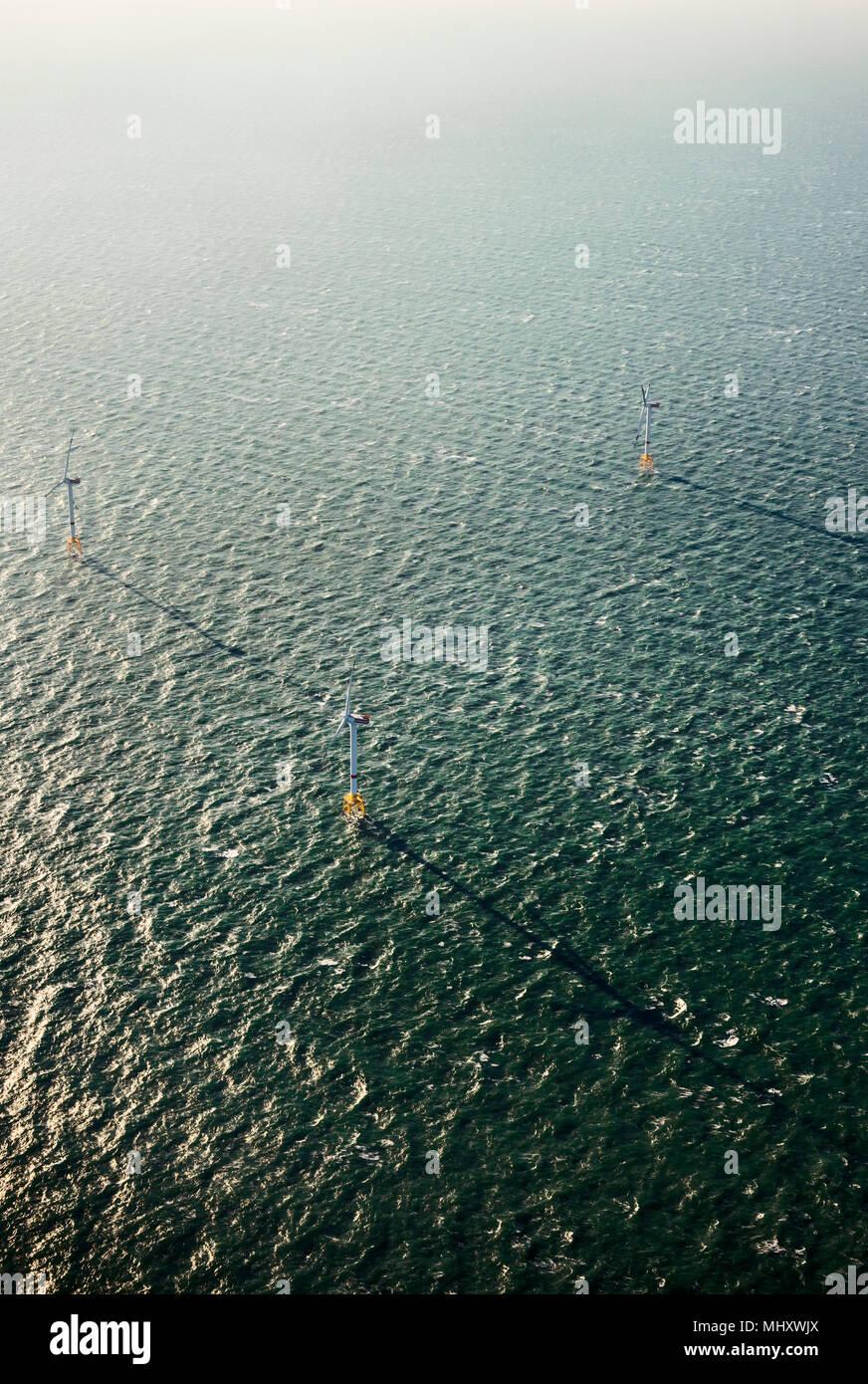Per centrali eoliche offshore, Domburg, Zeeland, Paesi Bassi Immagini Stock