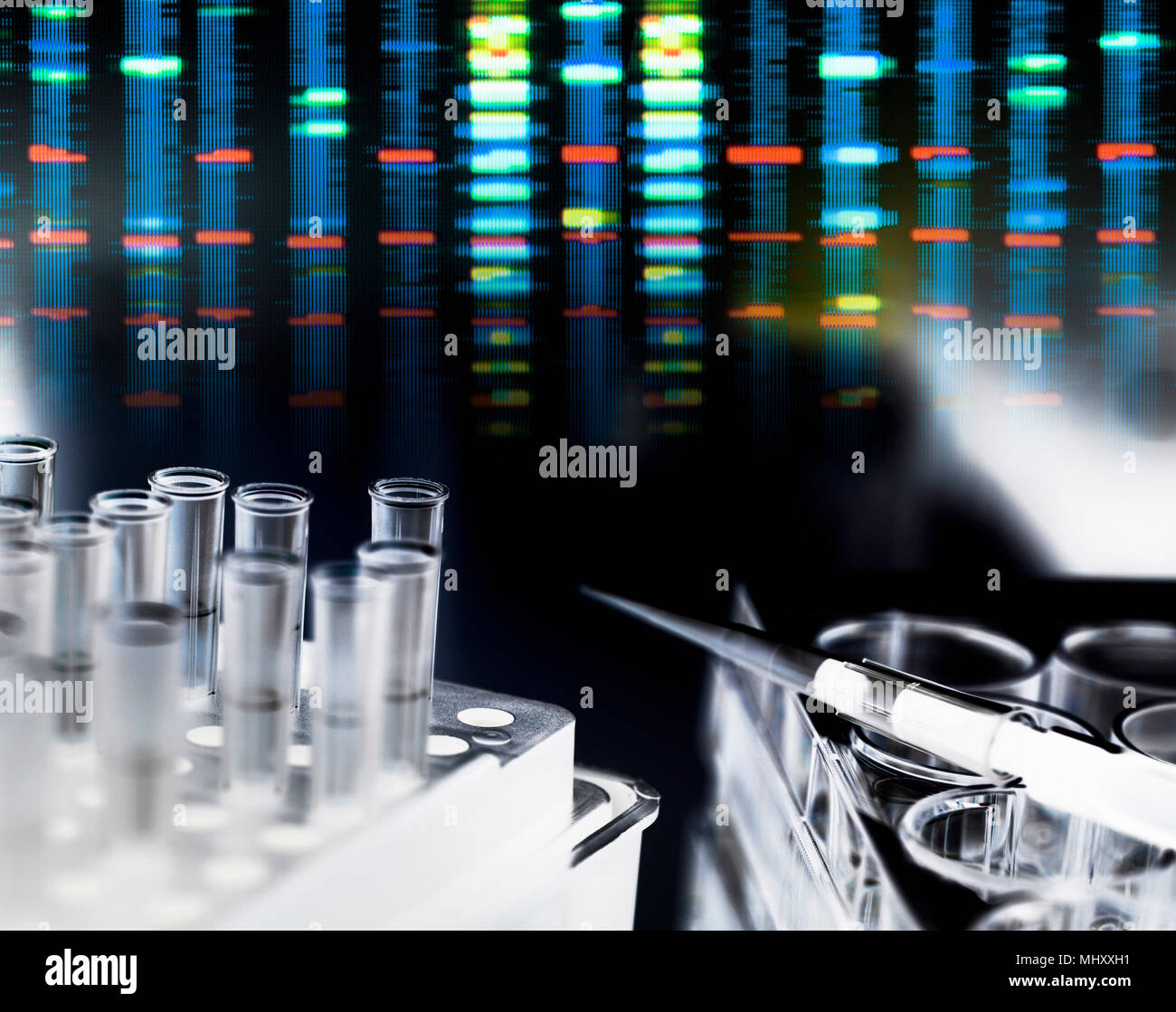 Pipetta a più pozzetti in attesa di campioni di DNA durante l'esperimento genetico in laboratorio con il profilo del DNA risultati in background Immagini Stock