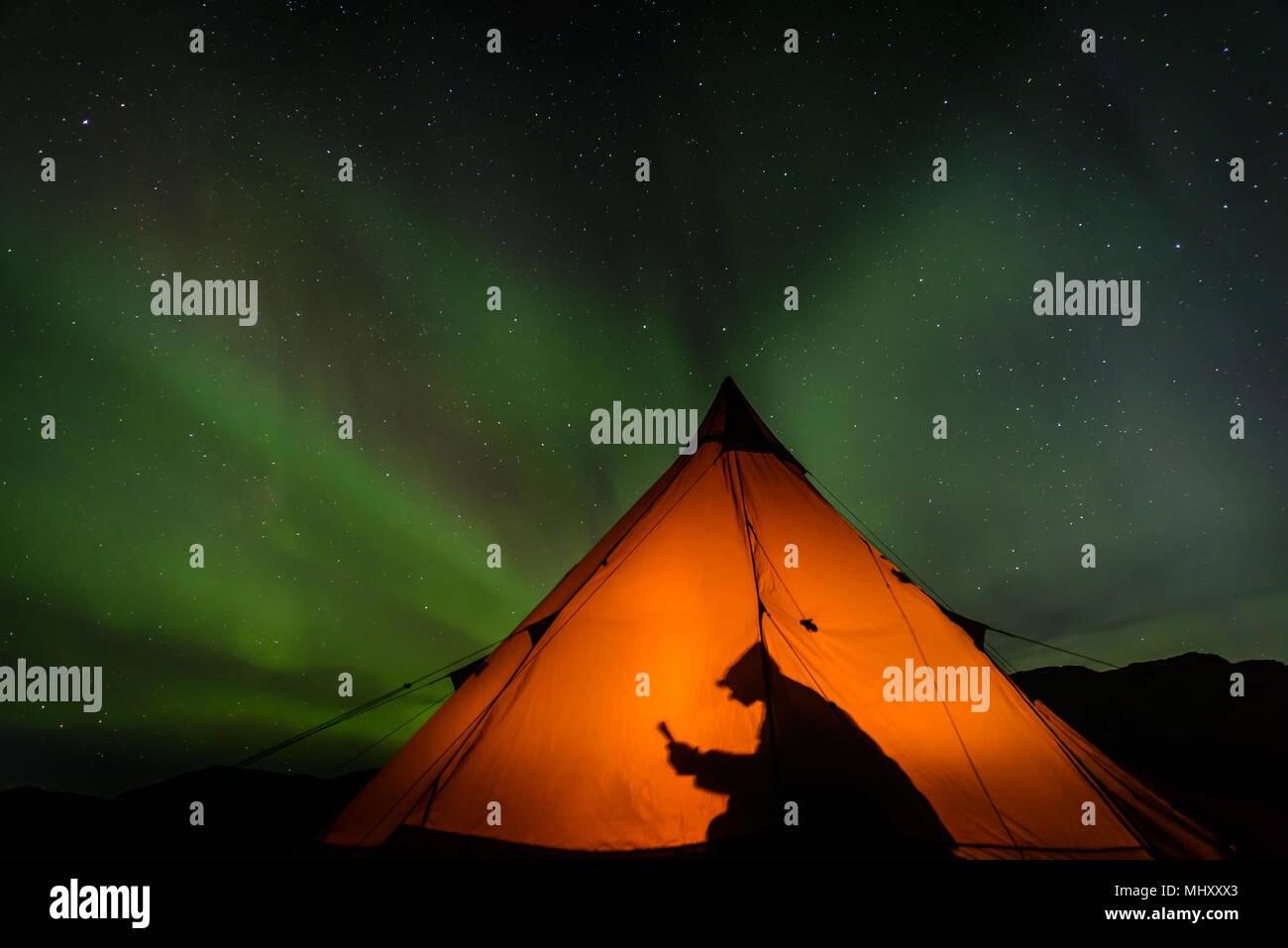 Camper la lettura all'interno della tenda, Aurora Boreale in background, Narsaq, Vestgronland, Groenlandia Immagini Stock