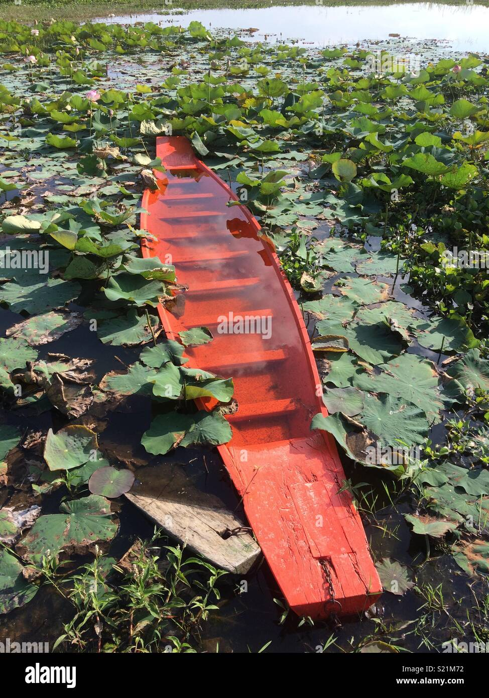 Barca affondata in Buriram Thailandia Immagini Stock