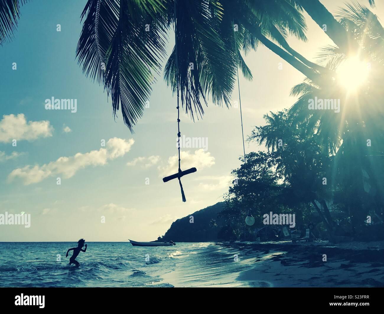 Spiaggia caraibica di scena sul isola di Providencia, un colombiano isola nei Caraibi. Immagini Stock
