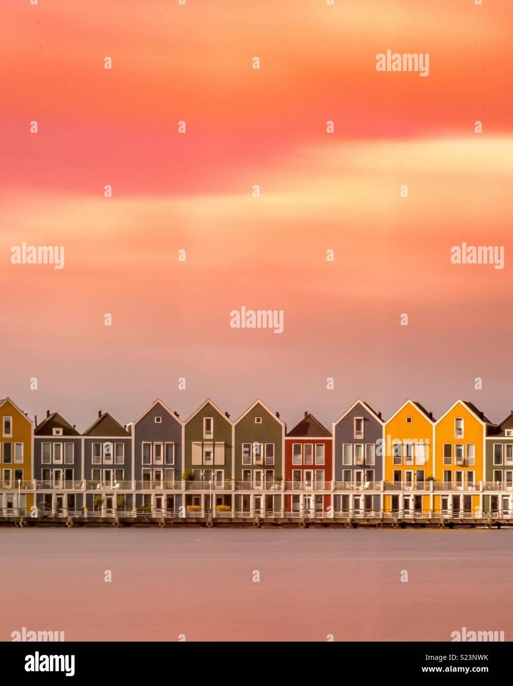 Case colorate, Paesi Bassi Immagini Stock