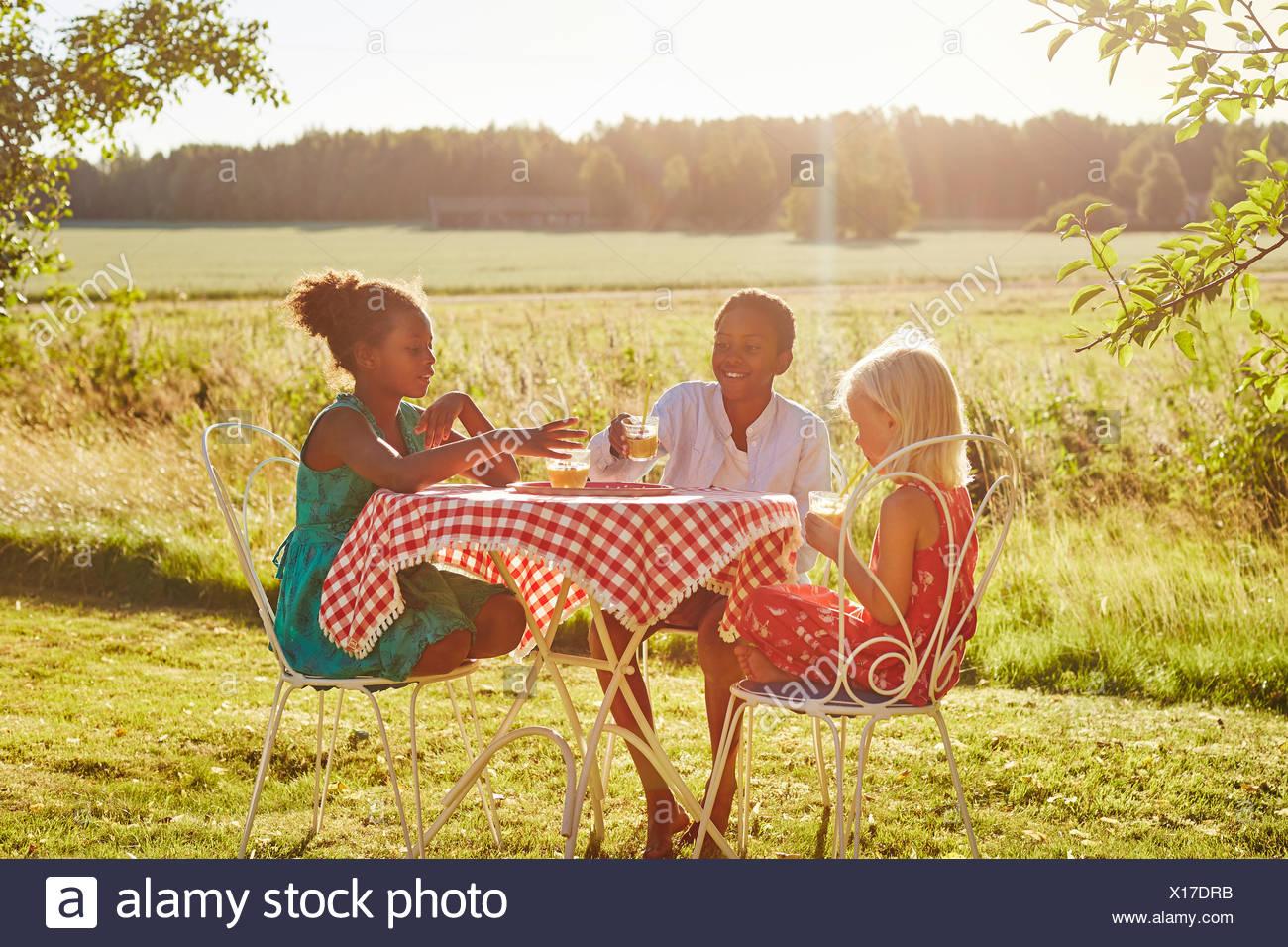 Bambini a tavola al di fuori Immagini Stock