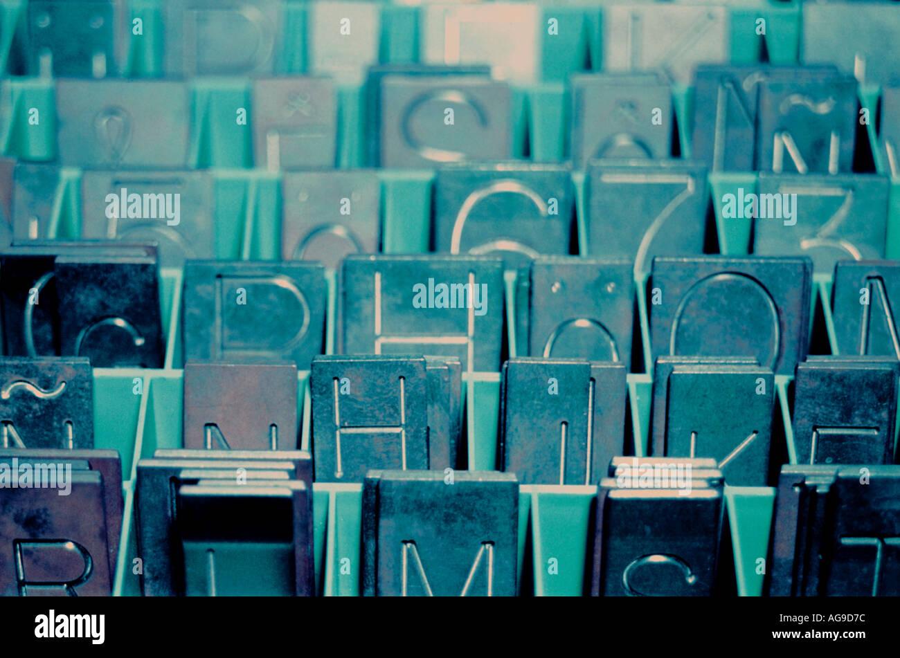 Gravura placas alfabeto Imagens de Stock