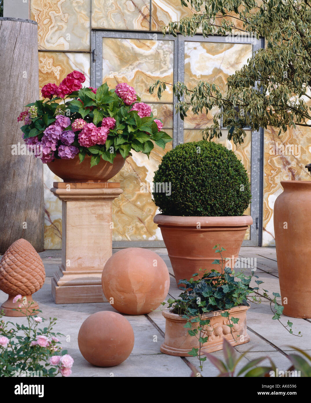 Terracota Vasos De Flores No Terraço Blumentoepfe Aus Terrakotta Auf  Terrasse Pflanzen Hochformat Blumentopf Plantas Vertical Garten Foto,  Imagem De Stock: ...