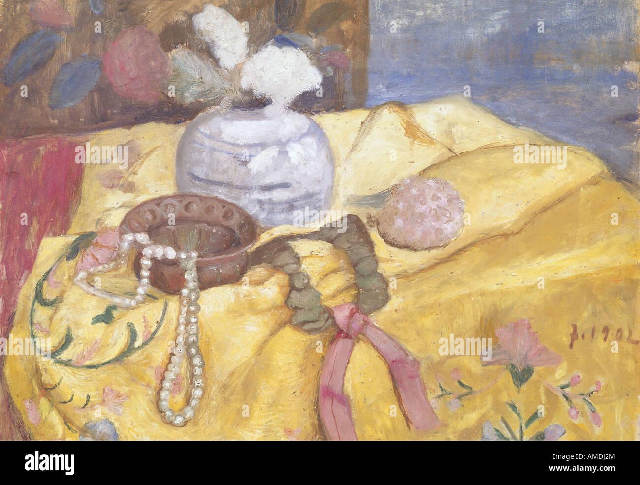 Belas artes, Modersohn-Becker, Paula (1876 - 1907), pintura e ainda a vida de pérolas, 1902, galeria de Estado Imagens de Stock