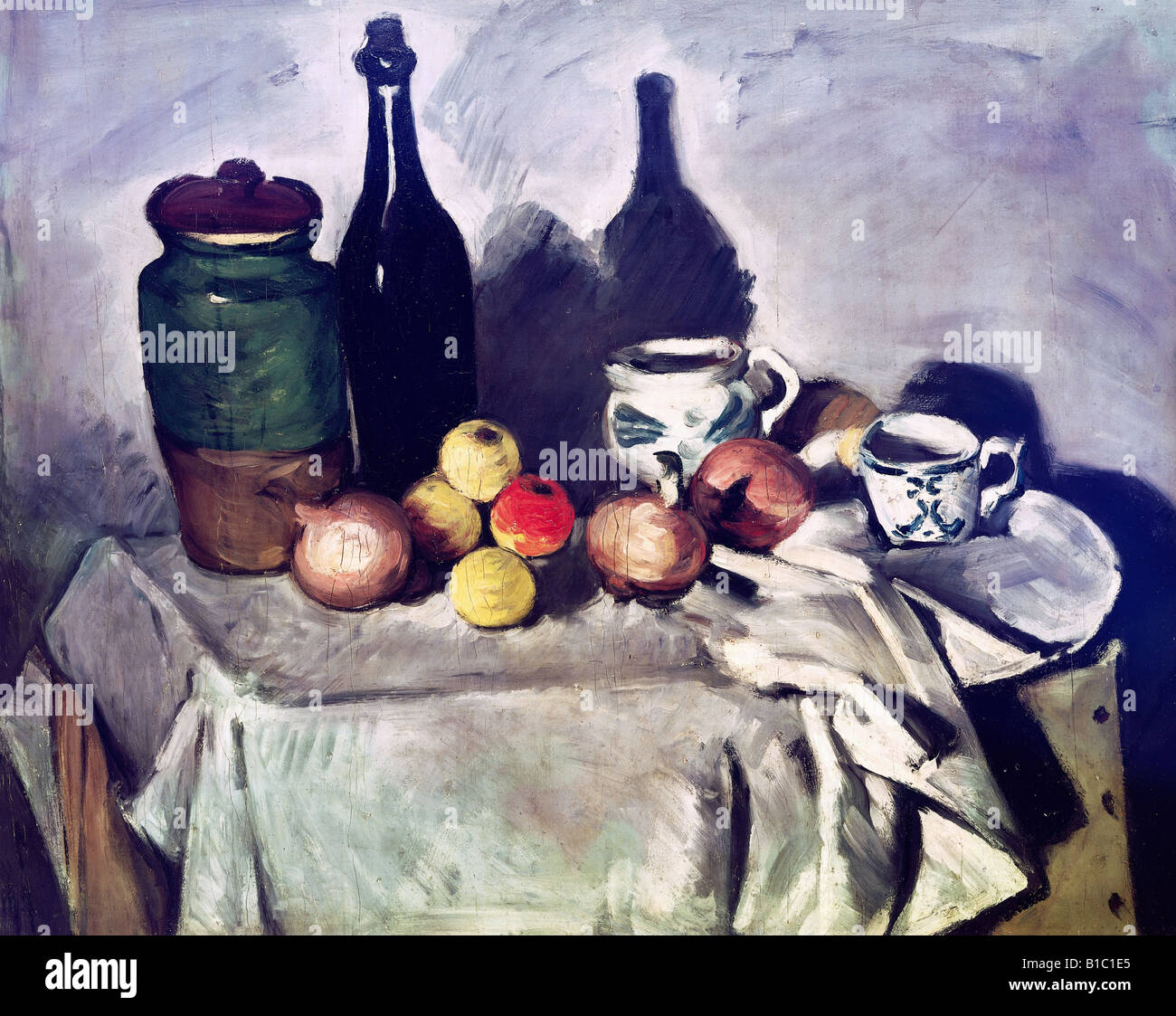 """Belas artes, Cézanne, Paulo, (19.1.1893 - 22.10.1906), pintura, """"até a vida com frutos e pratos"""", Imagens de Stock"""