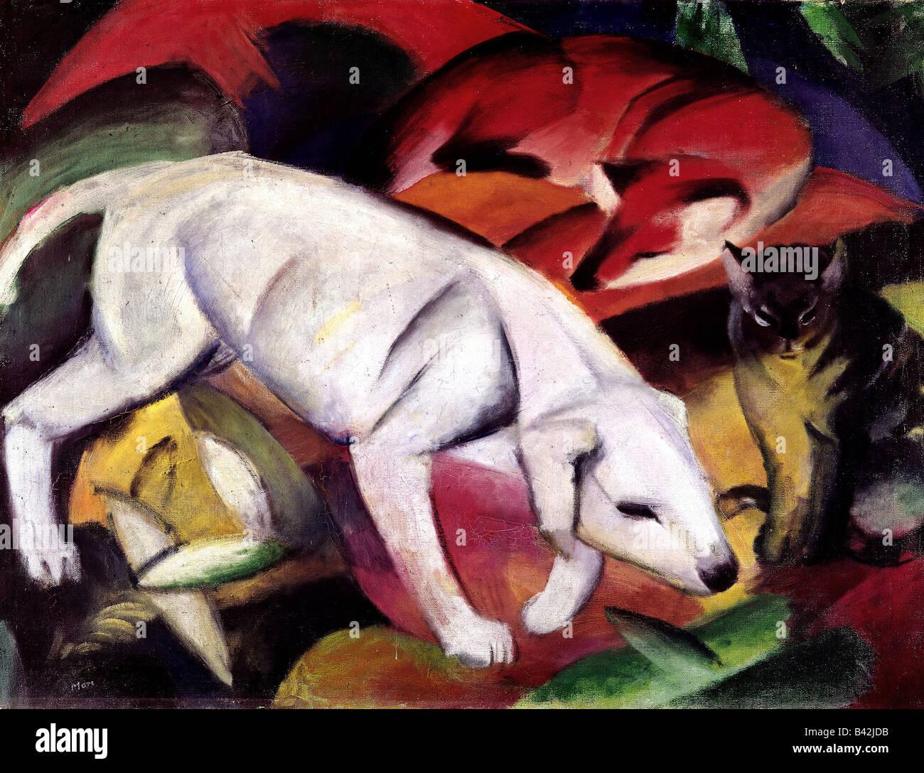 """Belas artes, Marc Franz, 8.2.1880 - 4.3.1916, pintura, 'Dog, Fox e gato"""", (Hund Fuchs und Katze), 1912 Imagens de Stock"""