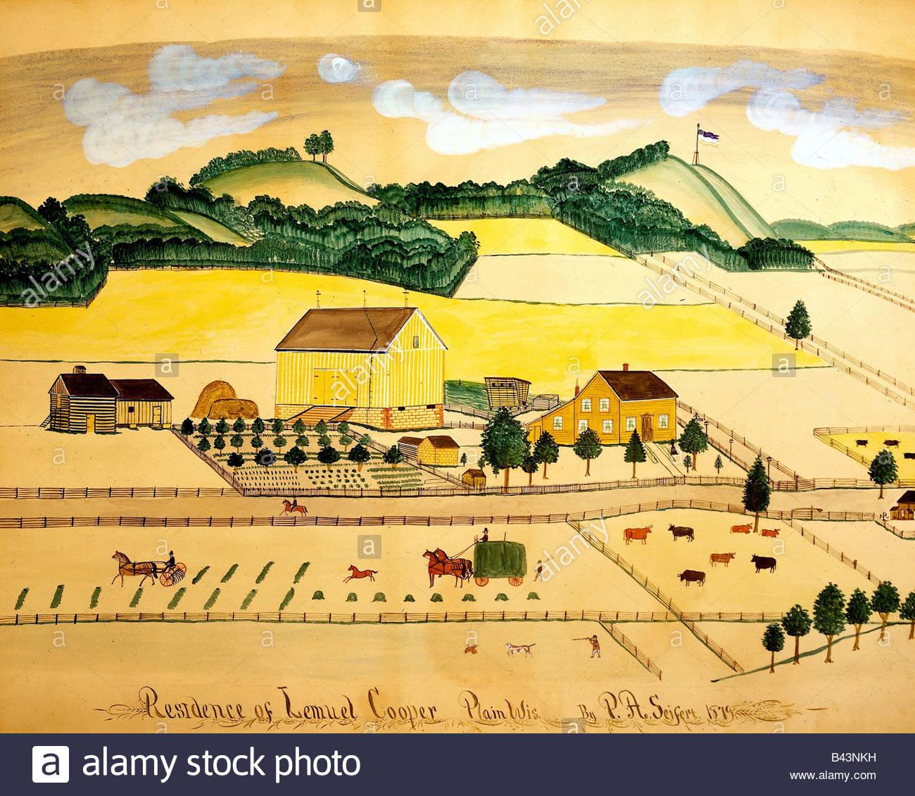 """Belas artes - Seifert, Paulo A. (1840 - 1921), pintura, """"Residência de Samuel Cooper, Planície, Wisconsin"""", Imagens de Stock"""