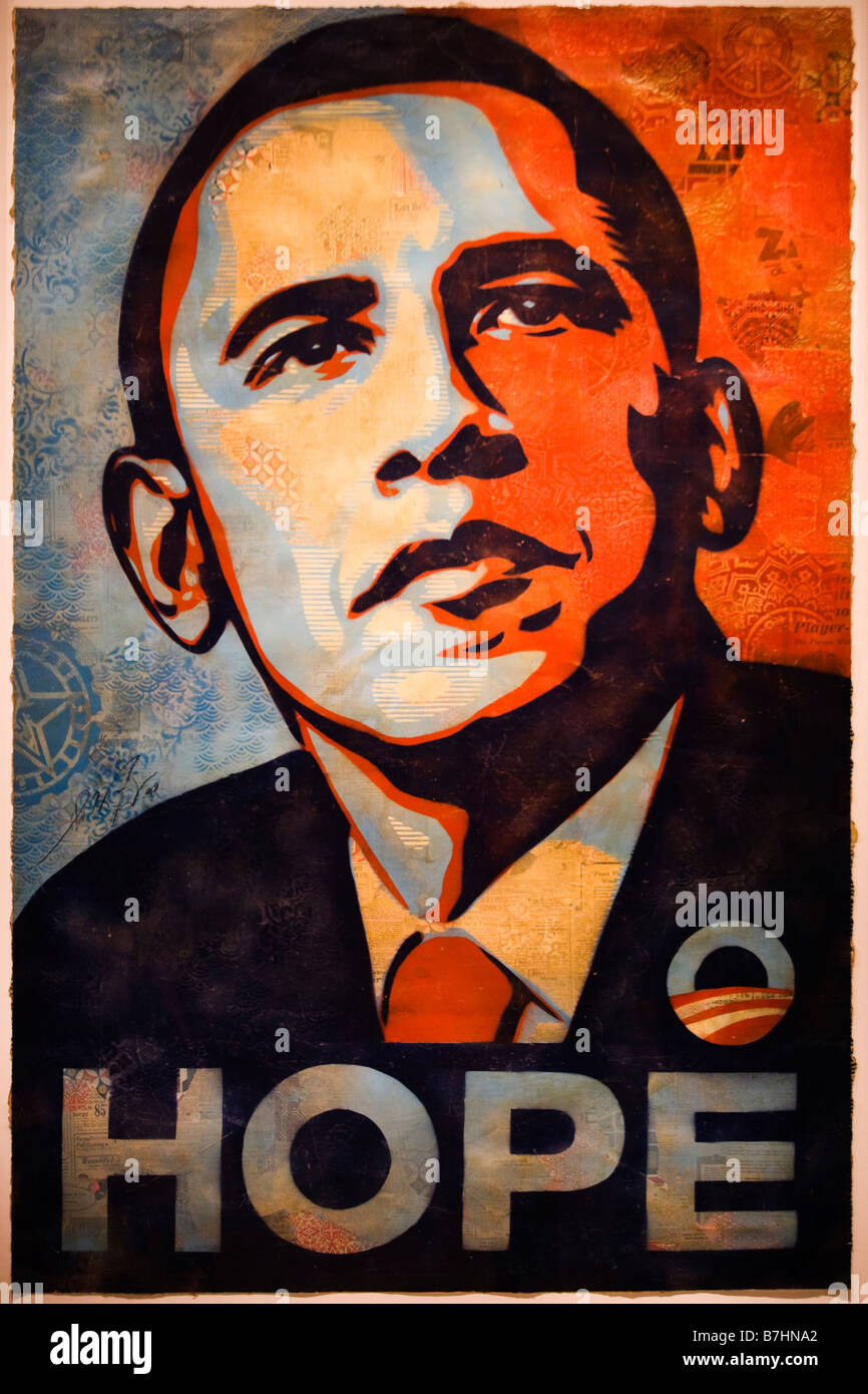 "Barack Obama ""espero"" retrato pintura de Shepard Fairey - National Portrait Gallery de Washington, DC Imagens de Stock"