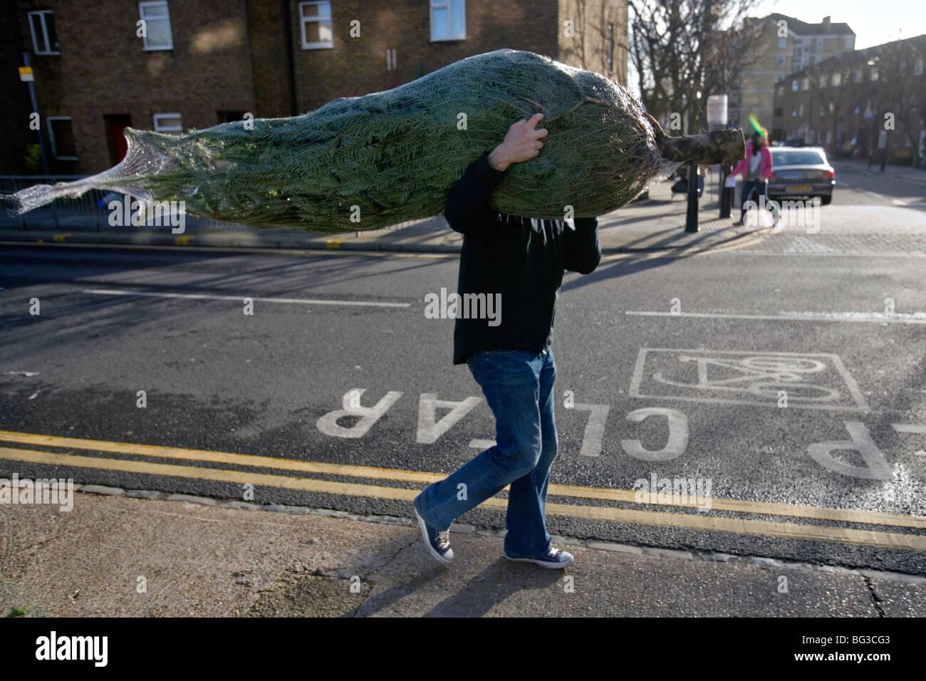 Um homem que comprou uma árvore de natal no mercado de flores de Columbia Road em Londres Imagens de Stock