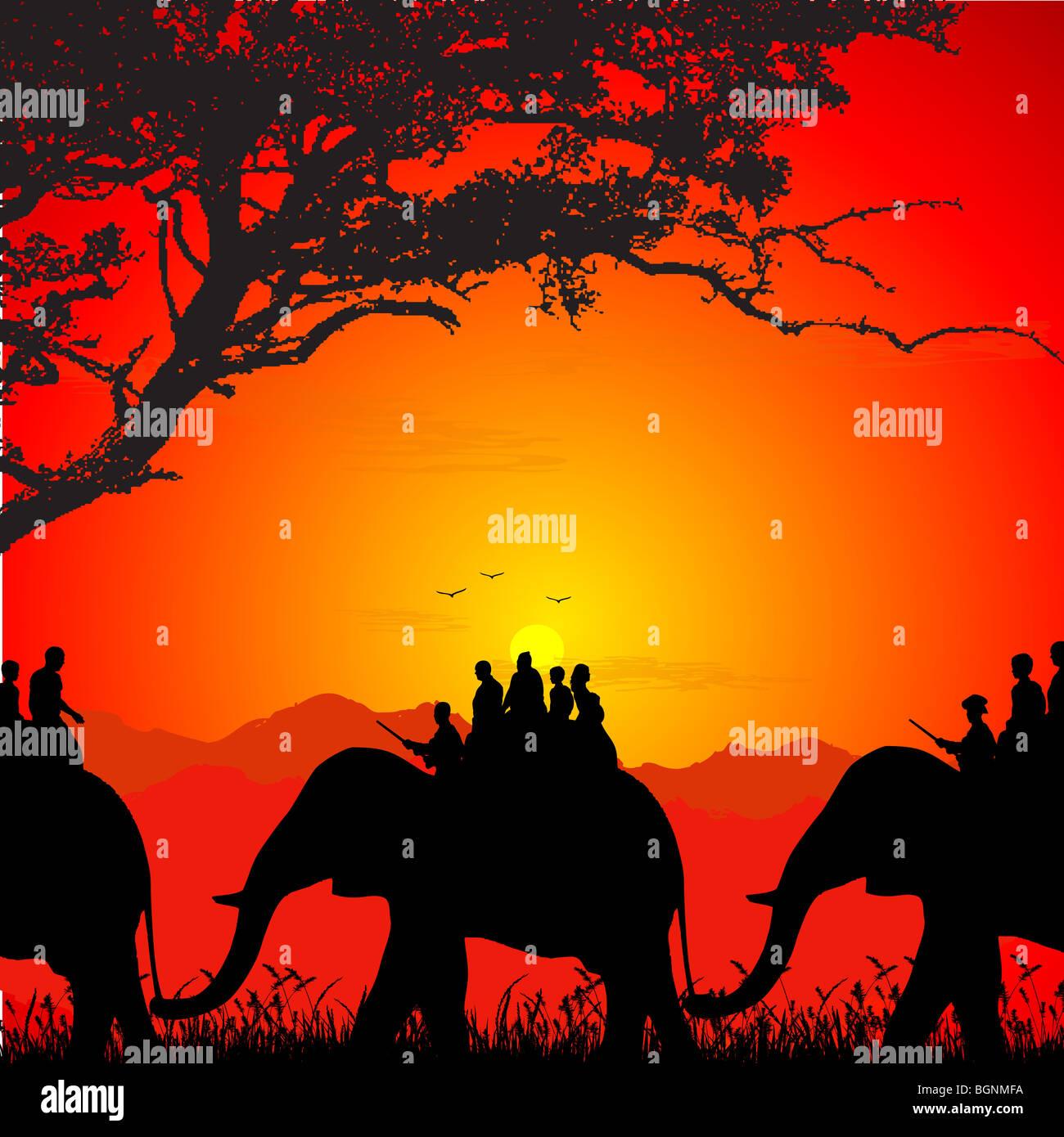 Silhueta de safari em um elefante Imagens de Stock