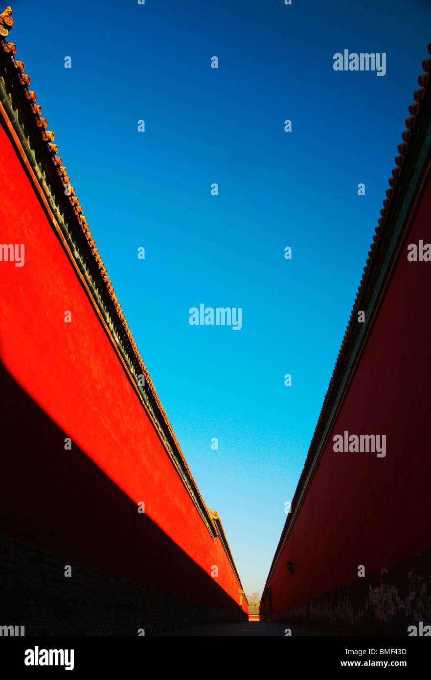 O Palácio Vermelho muro da Cidade Proibida, Pequim, China Imagens de Stock