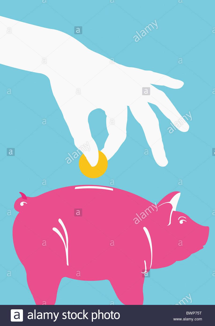 Pessoa colocando moeda no mealheiro Imagens de Stock