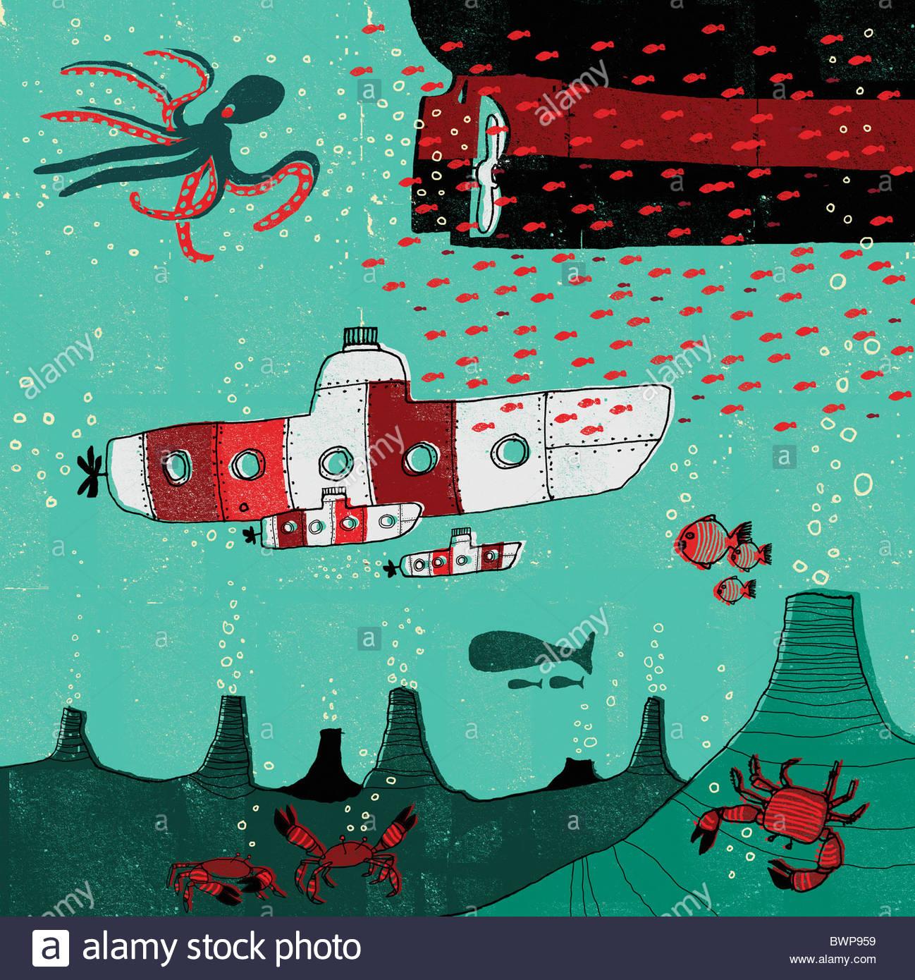 Submarinos viajando debaixo de água em Ocean Imagens de Stock