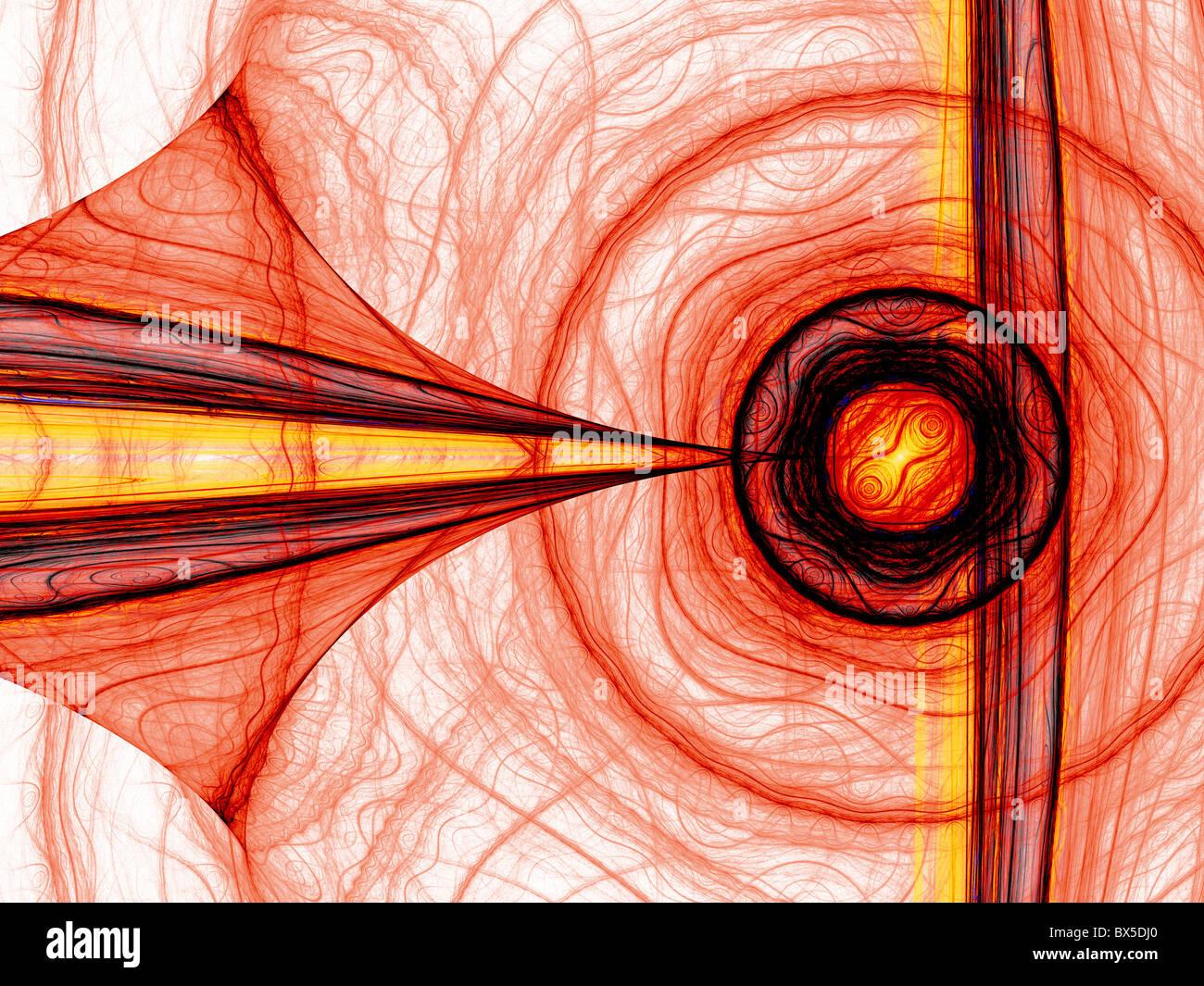 Resumo de energia vermelho gerado por computador de fractais. Bom como plano de fundo ou papel de parede. Imagens de Stock