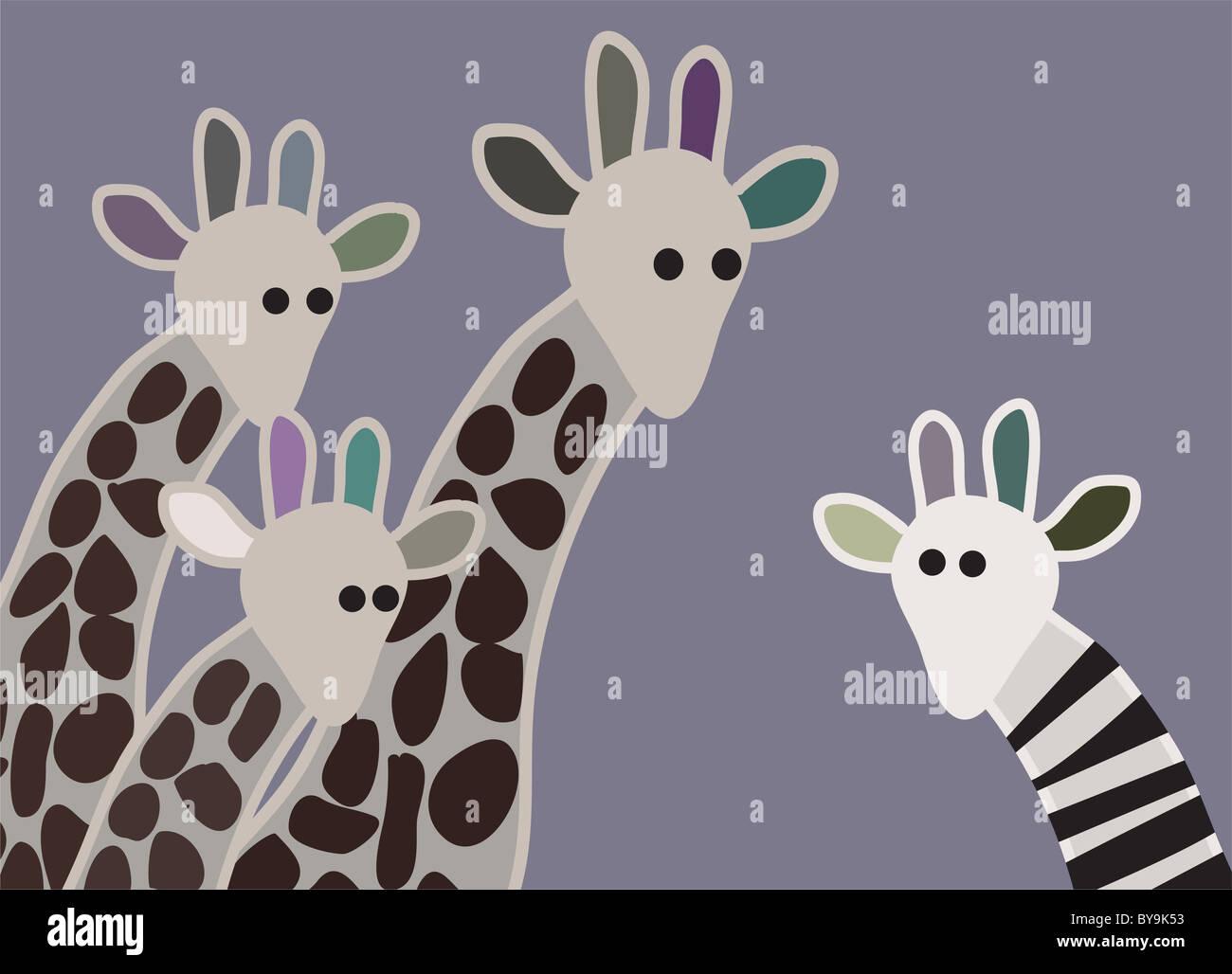 Giraffe família olhando surpreso, com girafa em diferentes marcação Imagens de Stock