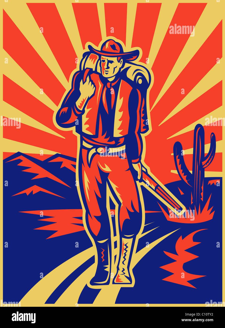 Estilo retro ilustração de um cowboy transportando mochila e espingarda curta com deserto montanhas e Imagens de Stock