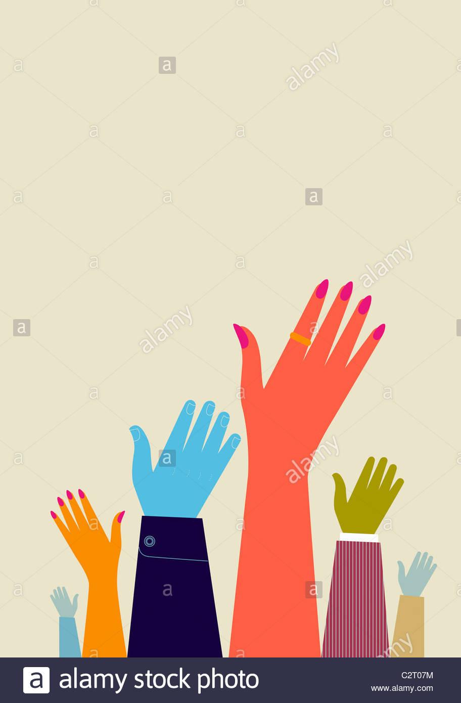 Pessoas levantando suas mãos Imagens de Stock