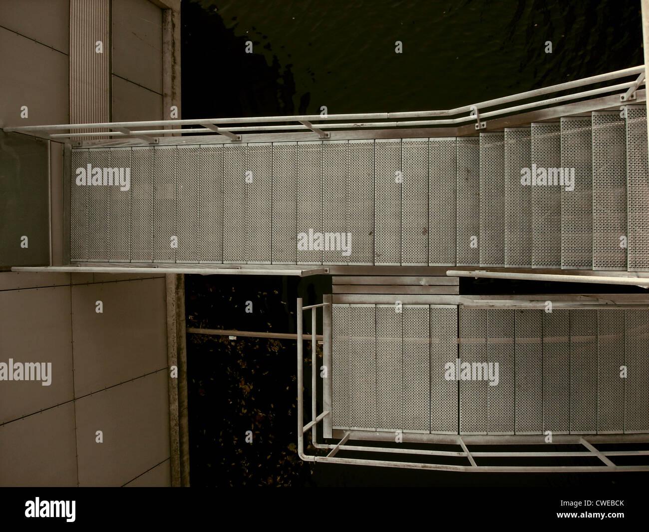 Escadaria,passos,em aço inoxidável Imagens de Stock