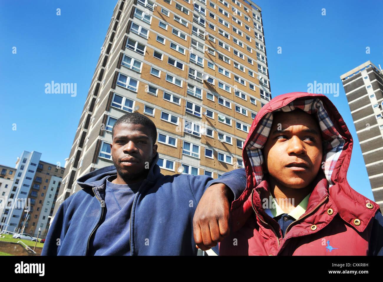 Jovens desempregados jovens Leeds REINO UNIDO Imagens de Stock