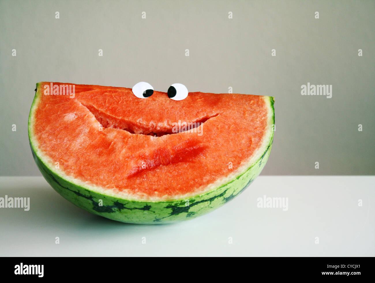 A sorrir,frutas,melancia Imagens de Stock