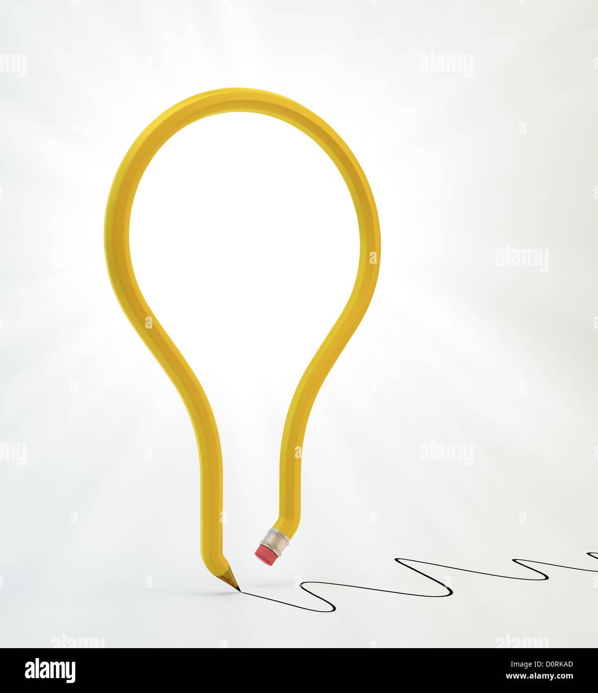 Lâmpada de luz de lápis Imagens de Stock