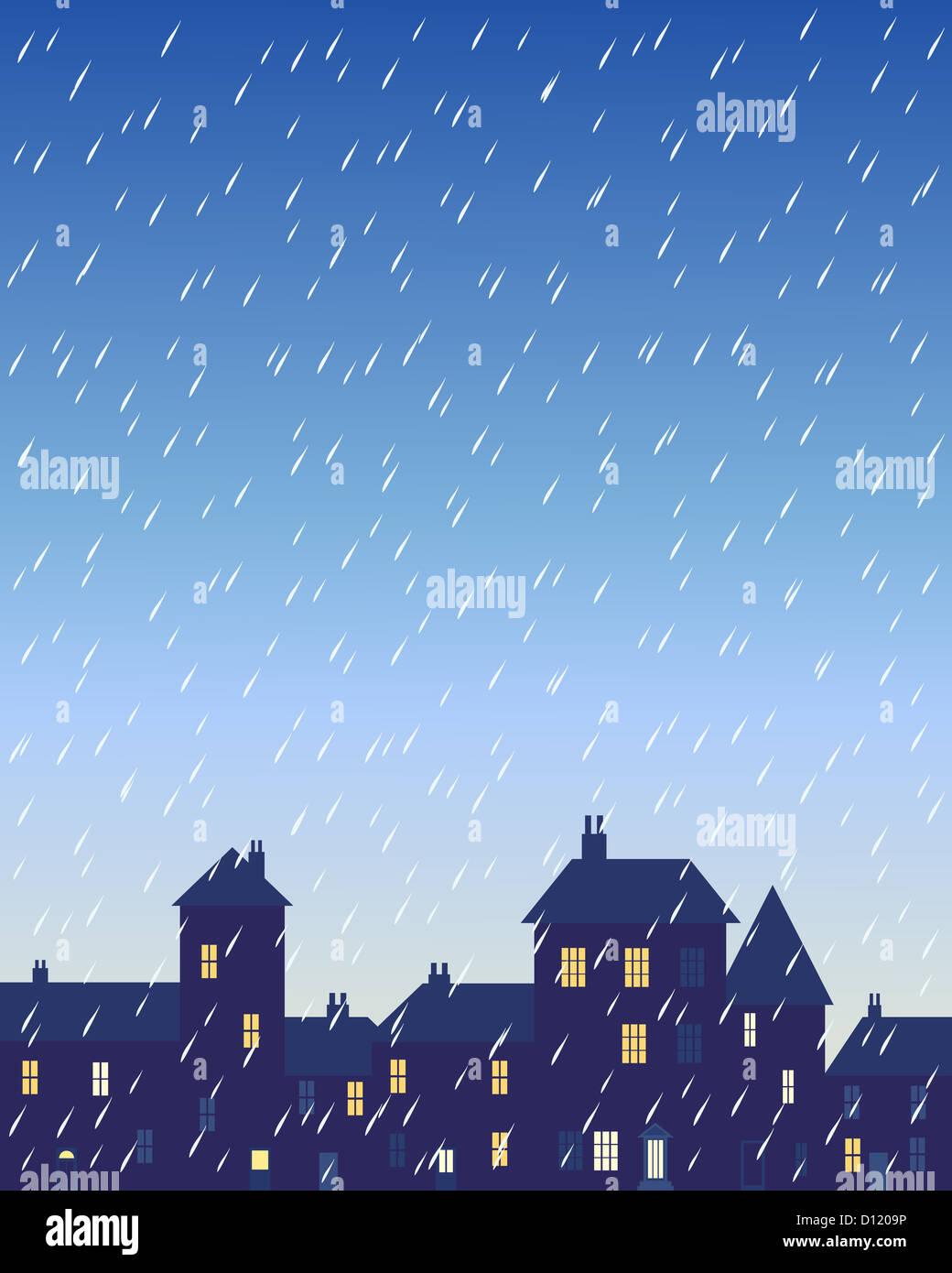 Uma ilustração de um dia chuvoso em uma cidade com várias formas de edifícios e casas com janelas iluminadas sob Foto de Stock