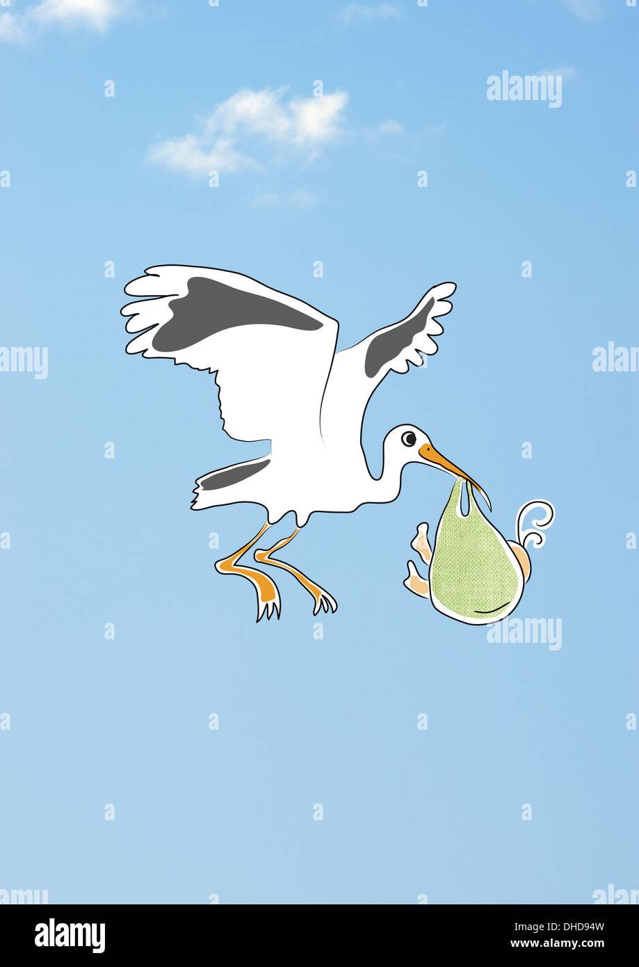 cegonha voando no céu proporcionando bebê recém nascido criança