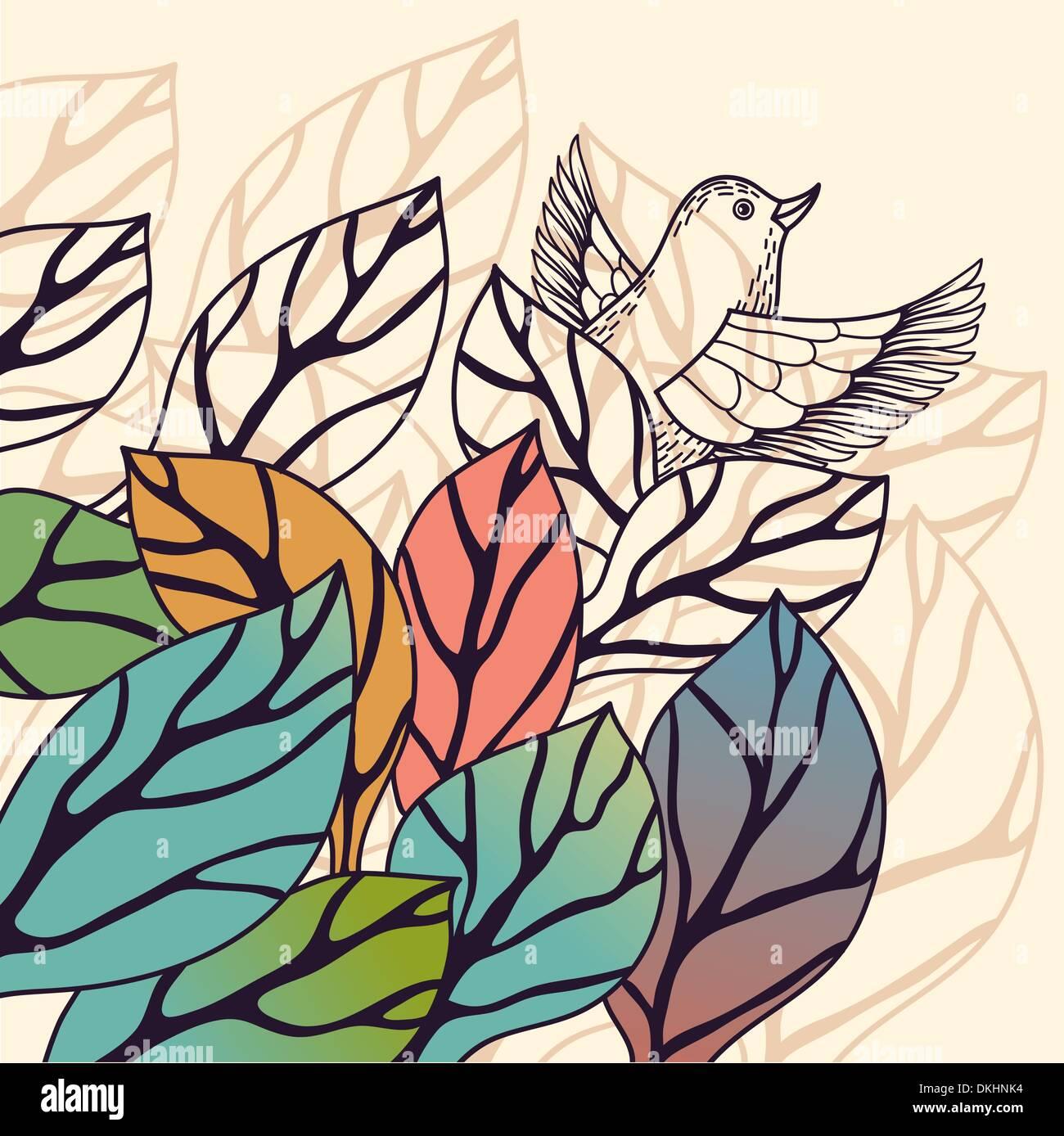Natureza do vetor de fundo com folhas coloridas Imagens de Stock