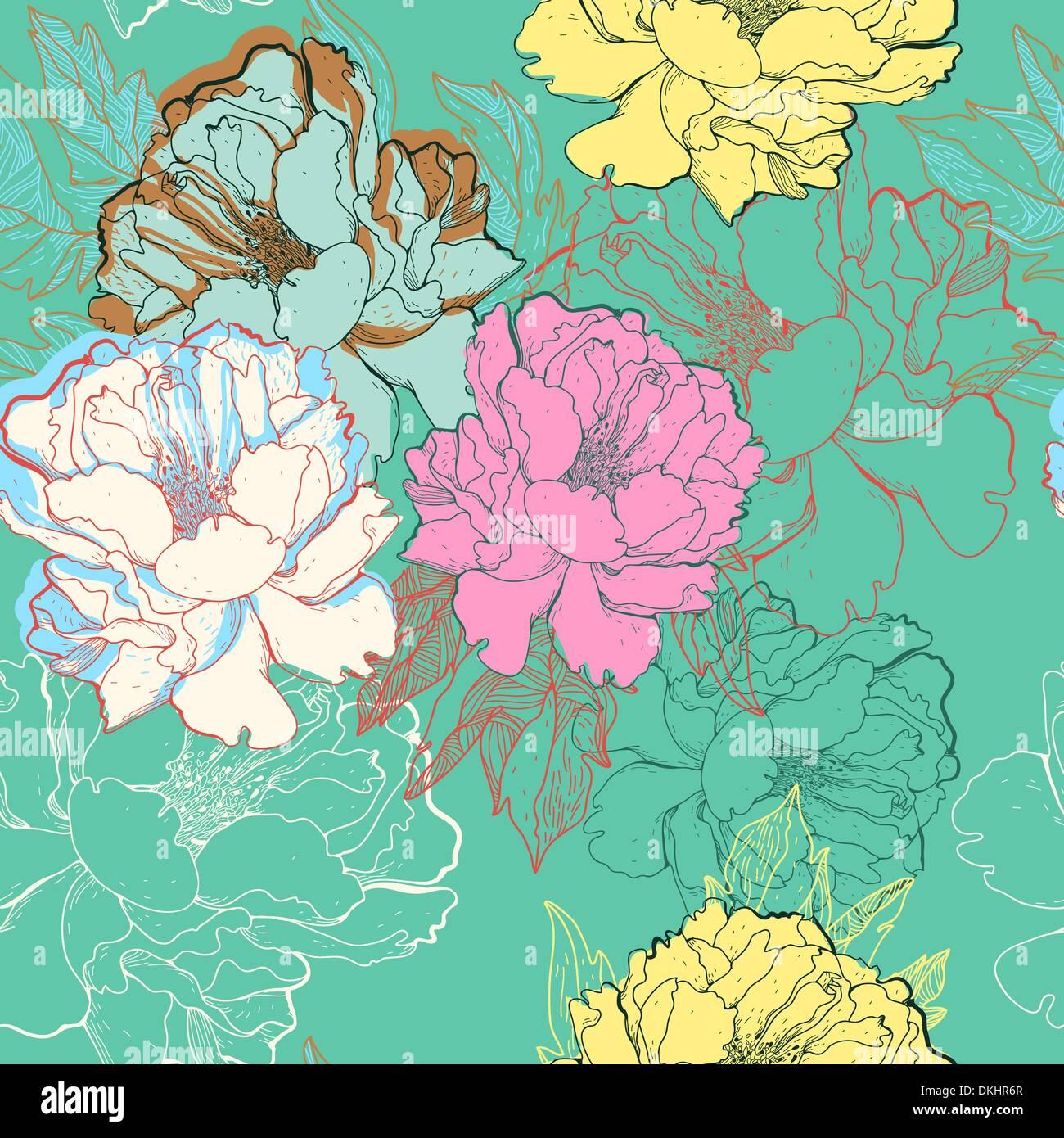 Vetor padrão sem costura floral com resumo blooming Roses Imagens de Stock
