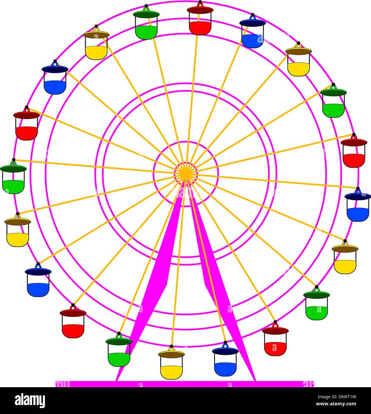 Silhouette atraktsion colorida roda-gigante. Ilustração do vetor. Imagens de Stock