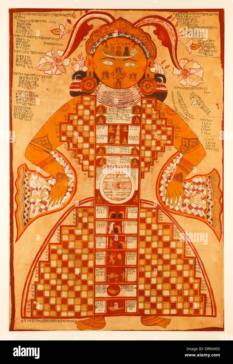 Jain Purushkara Yantra, cósmicos figura guache em seda de Rajasthan Índia circa 1780 mostrando Jambudvipa Imagens de Stock