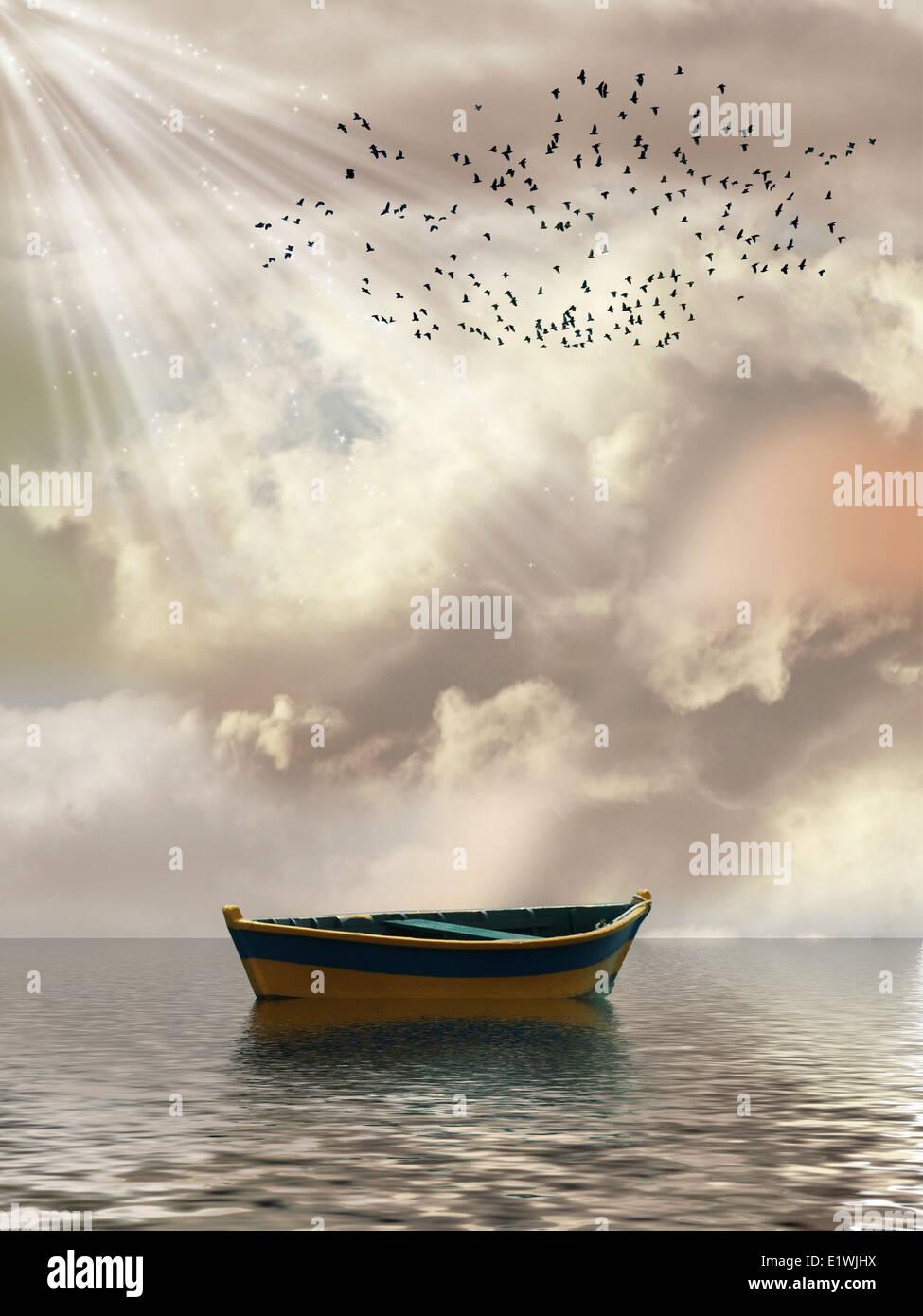 Paisagem de fantasia no oceano com barco e aves Imagens de Stock