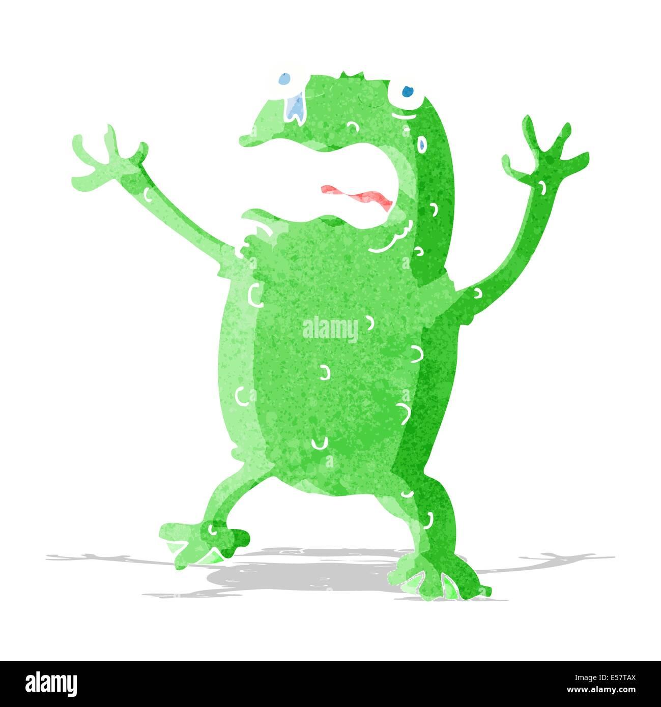 Cartoon assustados frog Imagens de Stock