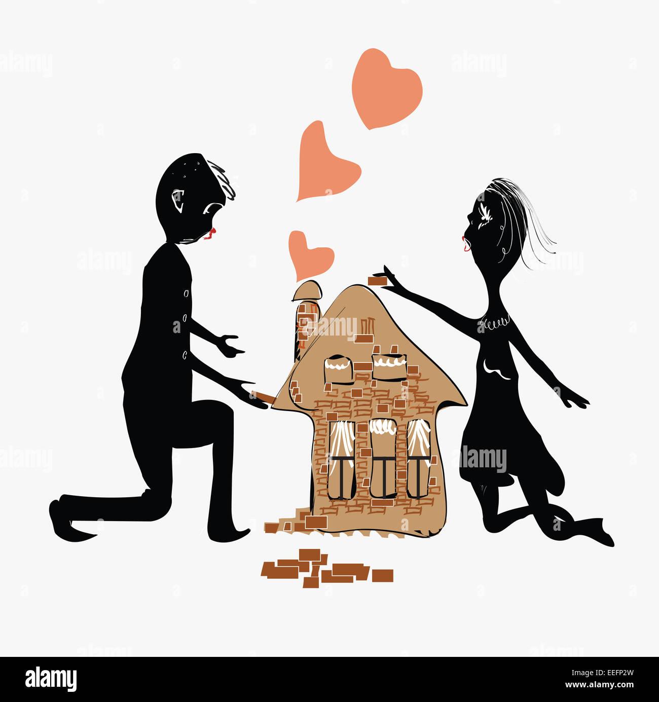 Construir uma Casa Casal Imagens de Stock