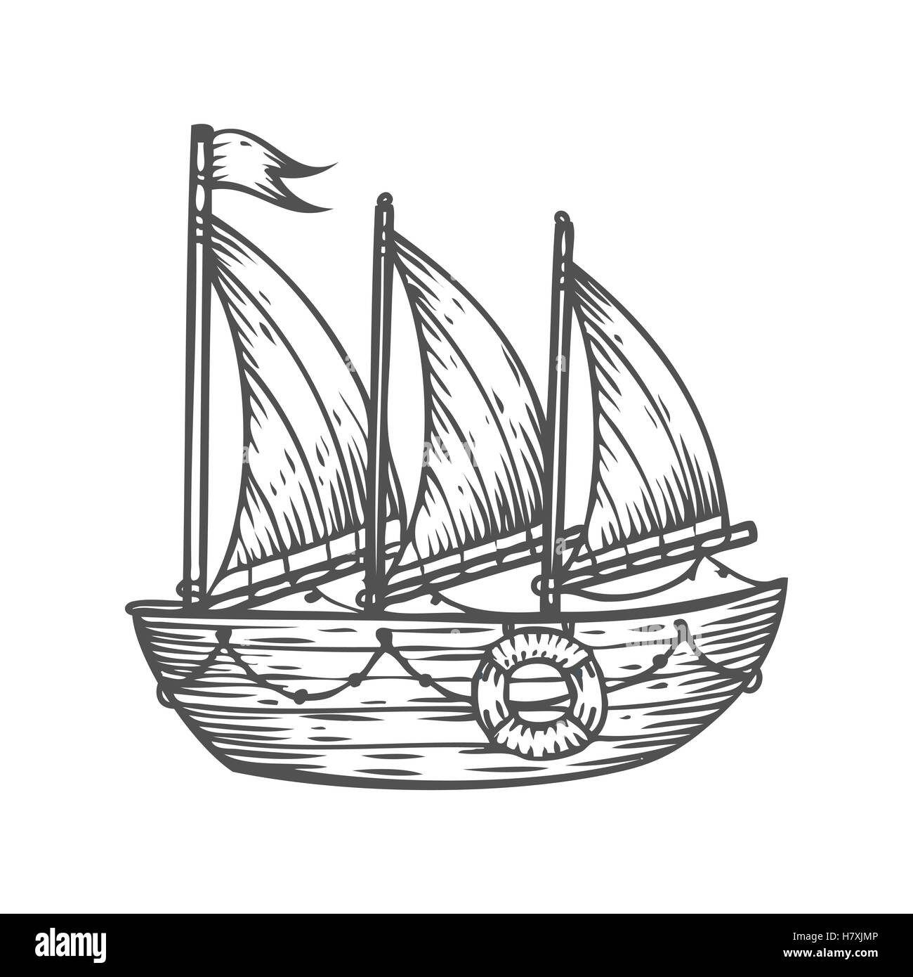 navio barco veleiro desenhado à mão gravura desenho vetor milhas