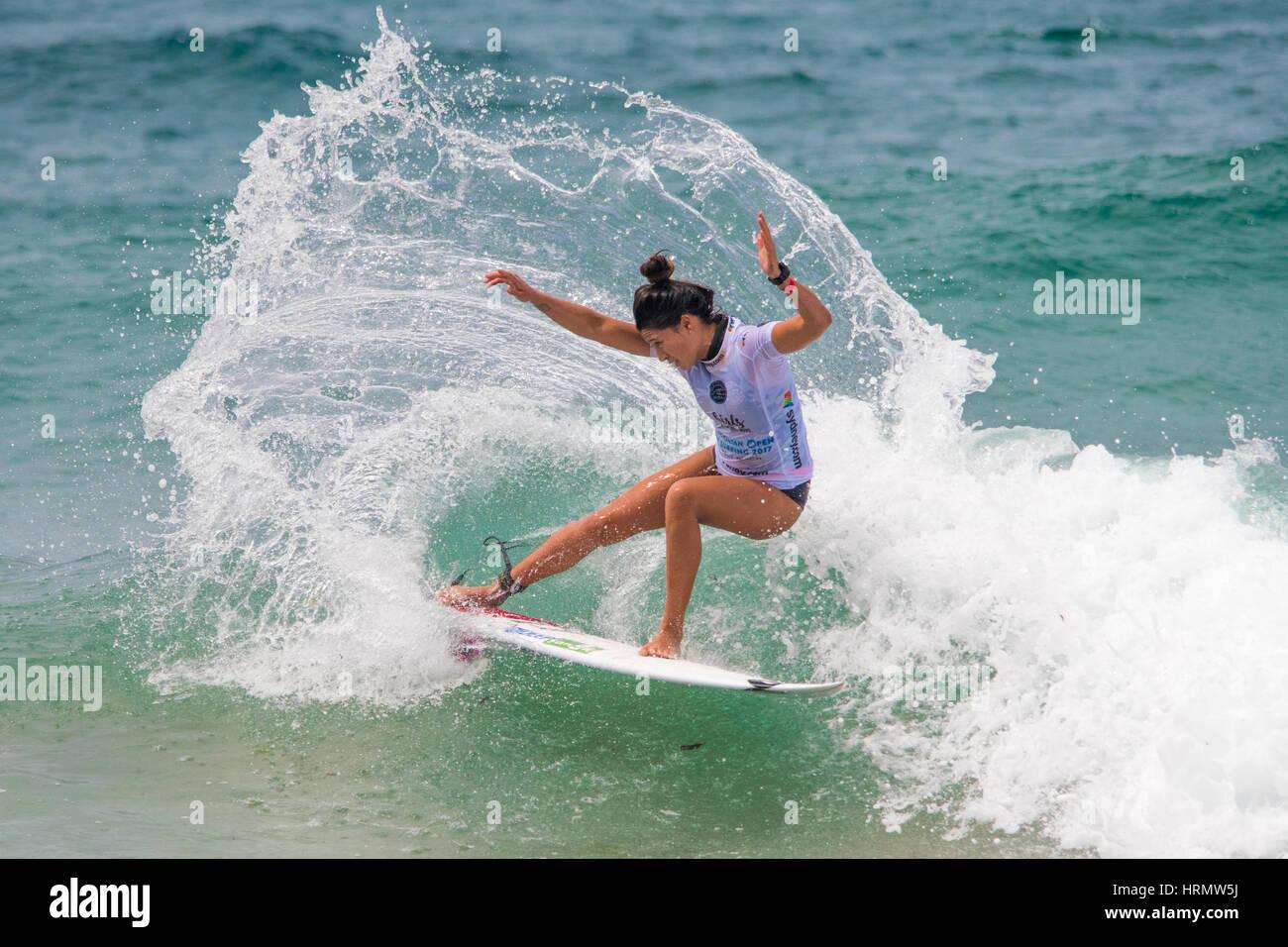 Sydney, Austrália - 3 de Março 2017: Australian Open de Surf evento desportivo no Manly Beach, Austrália Imagens de Stock