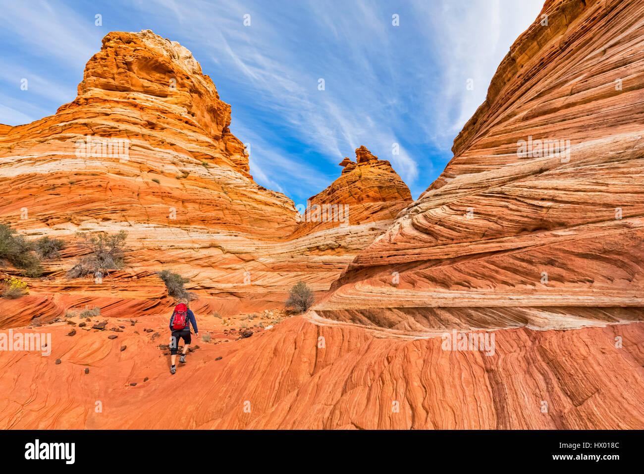 Eua, Arizona, Página, Paria Canyon, Vermelhão Cliffs Deserto, Coyote Buttes, turísticas caminhadas Imagens de Stock